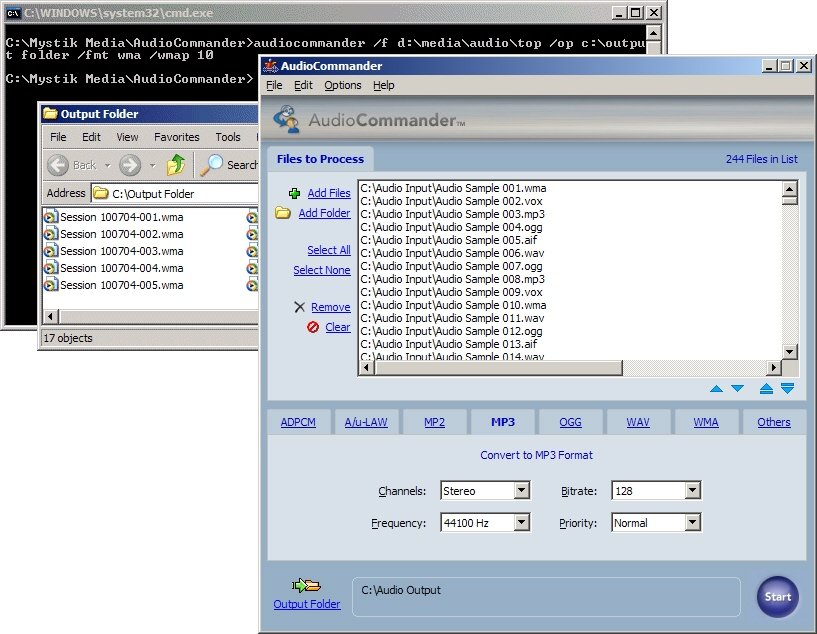 Gui Command Line Audio Converter Mp3 Wma Wav Ogg Cd Amr Aac